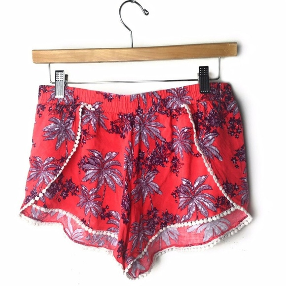 iris Pants - Iris Brand Tropical Print Shorts Crochet Trim Sz M